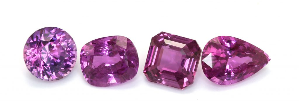 purplish pink natural sapphires