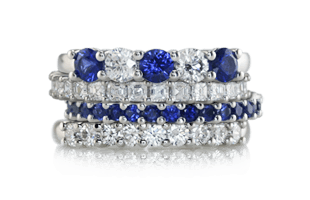 wedding sapphire diamond band blue bands ring alternating