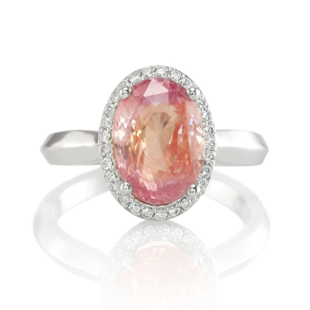 ring cut product with in rare padparadscha earrings gold sapphire rose home solitare engagement cushion solitaire