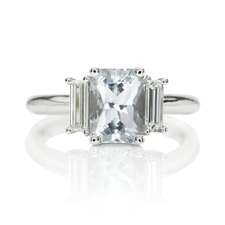 A Gorgeous Radiant White Sapphire Engagement Ring The Natural Sapphire p