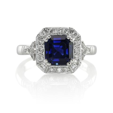 and with sapphire cut diamond product halo ring t view engagement asscher