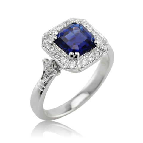 asscher engagement ring untreated cut ct royal sapphire blue natural