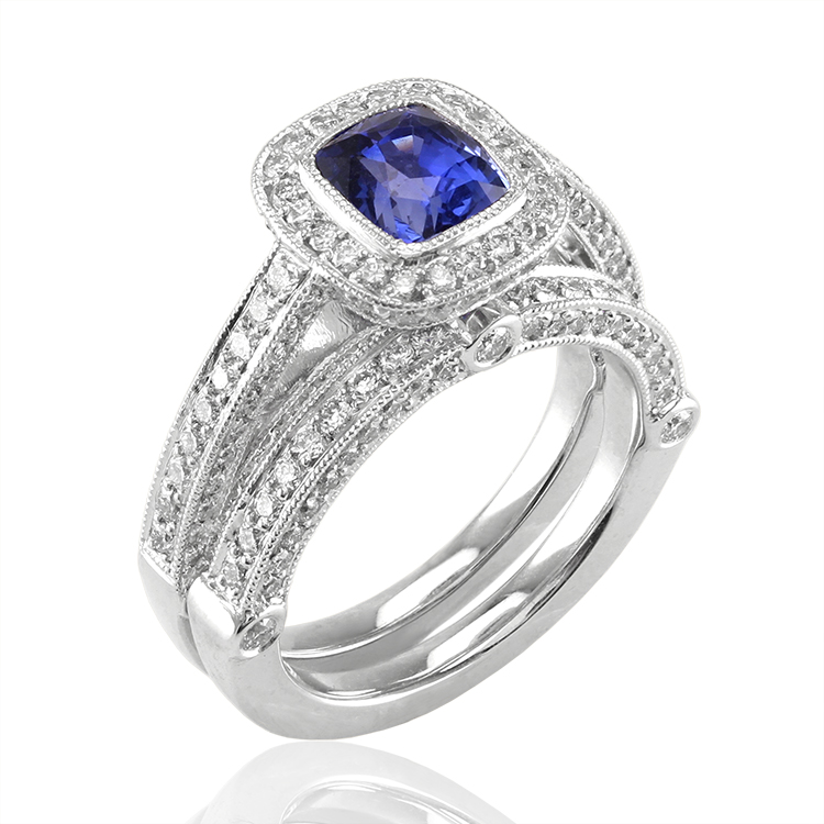 matching wedding sets - Blue Sapphire Wedding Ring Sets