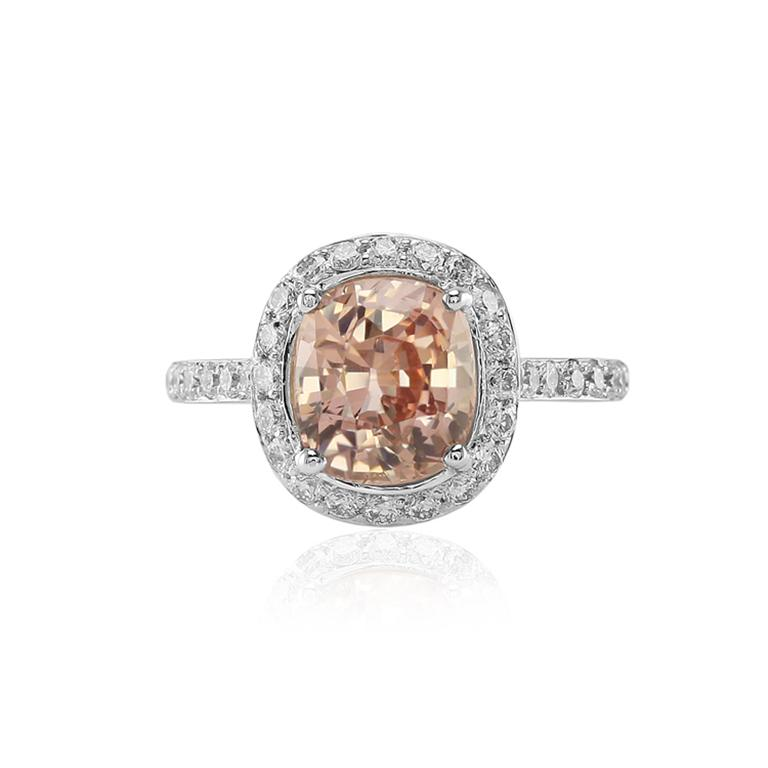 An Enchanting Peachy Pink Sapphire Engagement Ring The