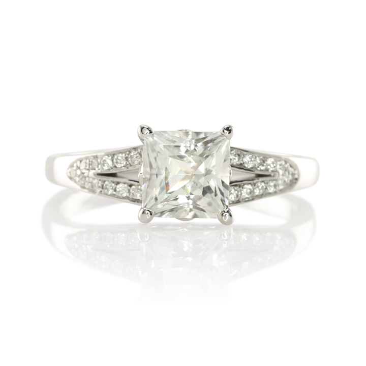 A Gorgeous Princess Cut White Sapphire for a UK Engagement The Natural Sapp